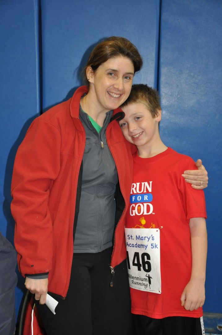 Mother and son before a road race