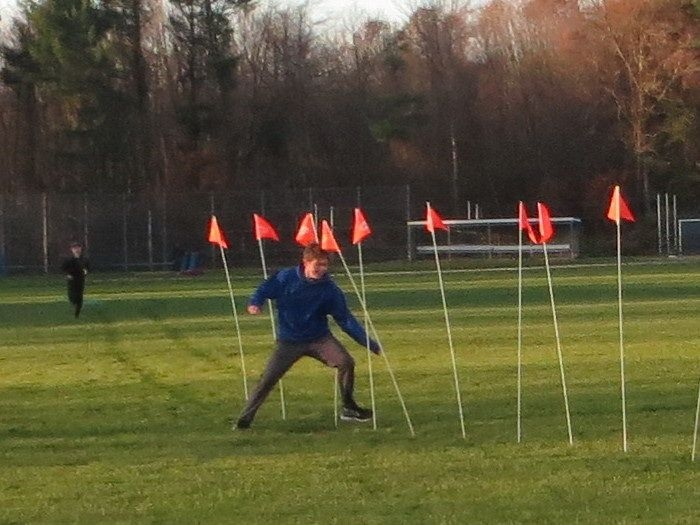 Student races through obstacle course.